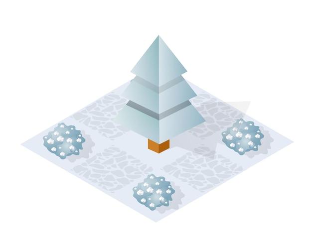 Parc d'hiver isométrique avec de la neige, des arbres