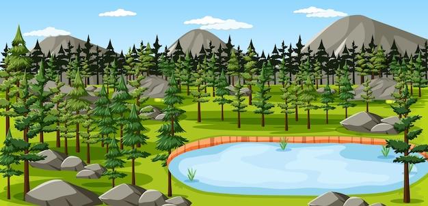 Parc naturel avec scène de paysage de lac