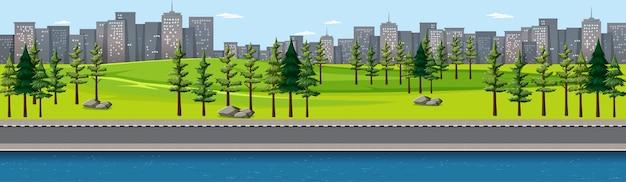 Parc naturel de la ville avec scène de paysage au bord de la rivière