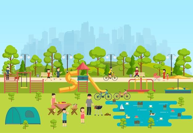 Parc public avec aire de jeux et lac, camping dans parc.