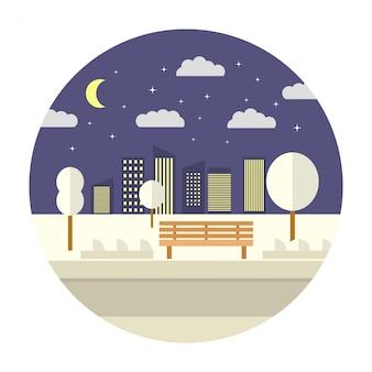 Parc public de skyline de ville de nuit d'hiver avec banc et arbres.