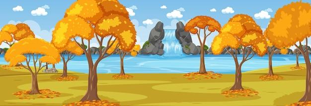 Parc en scène horizontale de saison d'automne au moment de la journée