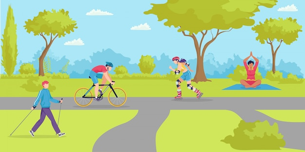 Parc de sport en plein air, dessin animé des gens en bonne santé dans l'illustration de la ville. mode de vie d'été à la nature, activité femme homme. loisirs actifs à vélo, exercice de caractère joyeux et loisirs.