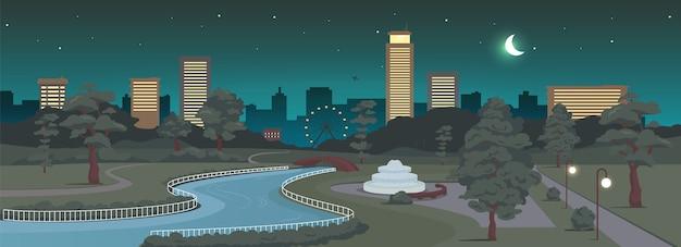 Parc urbain de nuit couleur plate. zone de loisirs de la ville et bâtiments modernes à minuit. repos extérieur. paysage de dessin animé 2d carré avec des gratte-ciel et croissant de lune sur fond