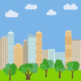 Parc de la ville en arrière-plan des gratte-ciel. illustration vectorielle