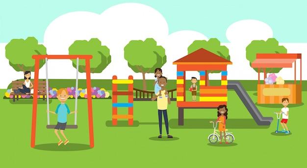 Parc de la ville de détente pour les enfants aire de jeux pour enfants pelouse verte mélange course personnes arbres paysage fond horizontal plat un