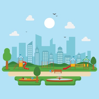 Parc de la ville en été avec aire de jeux pour enfants