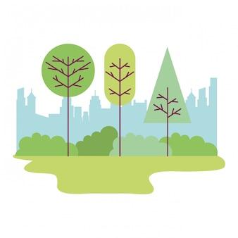Parc ville paysage arbres buissons