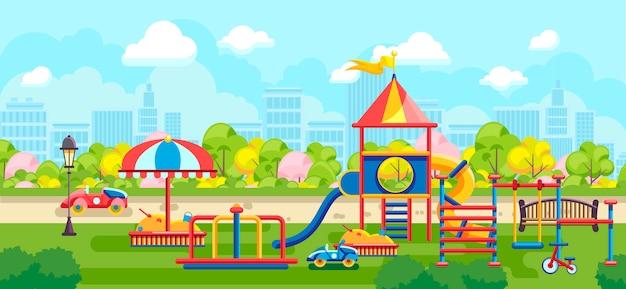 Parc de la ville de vecteur lumineux avec aire de jeux