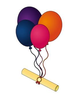 Parchemin diplôme diplôme avec ballons hélium