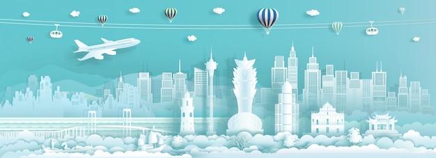 Parcourez les monuments de la chine à macao, célèbre ville d'asie.
