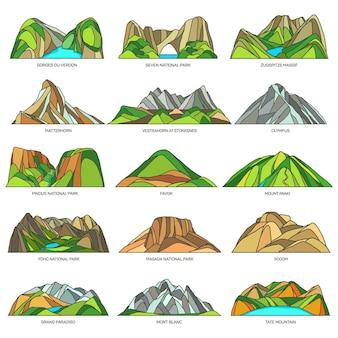 Parcs naturels avec vecteur de montagnes et de rochers