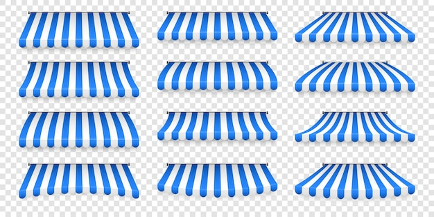 Pare-soleil de magasin rayé réaliste. store auvent. auvent de toit. ensemble de tente de magasin.