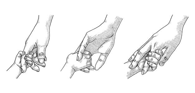 Parent et enfant tenant l'illustration de la main
