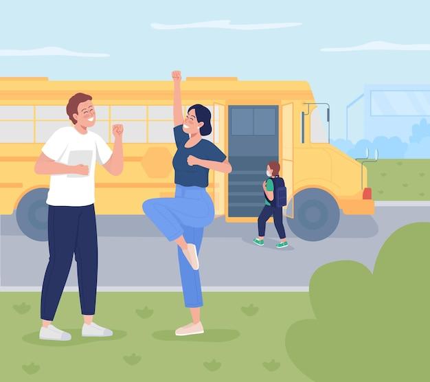 Le parent envoie l'enfant à l'illustration vectorielle de couleur plate à l'école. heureux jeunes parents qui envoient leur enfant à l'école maternelle. la femme et le mari jouissent de la liberté. personnages de dessins animés familiaux 2d avec paysage en arrière-plan