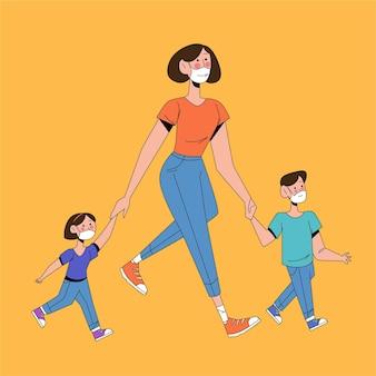 Parent, marche, enfants, dehors, masques médicaux