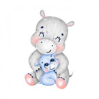 Parent mignon de bande dessinée et bébé hippopotames câlin