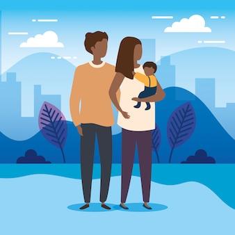 Parents afro avec bébé dans les personnages de la nature du parc