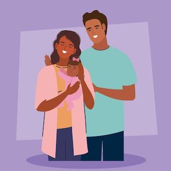 Parents afro avec nouveau-né