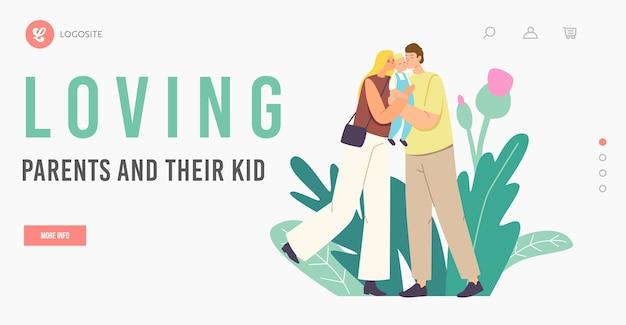 Les parents caucasiens embrassent le modèle de page d'atterrissage de bébé. mère et père aimant les personnages de la famille heureuse tenant un enfant en bas âge mignon sur les mains étreignant et s'embrassant, amour. illustration vectorielle de gens de dessin animé