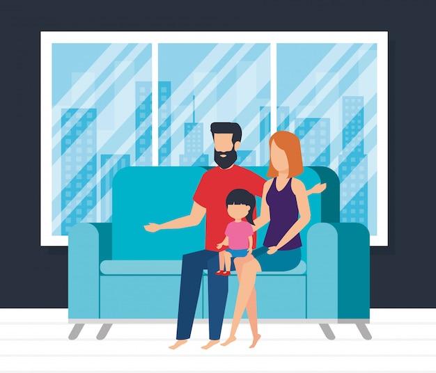 Parents, couple, fille, regarder, tv