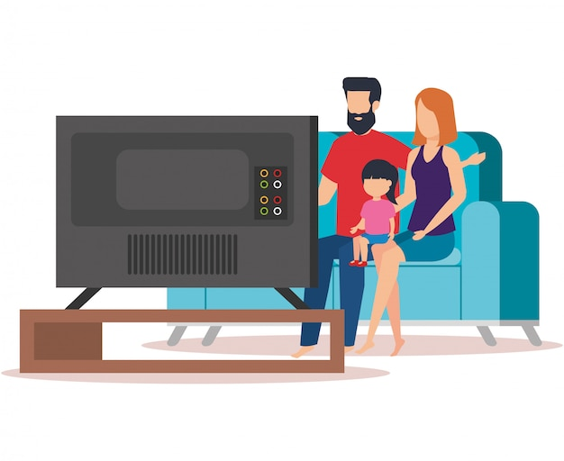 Parents, couple, fille, regarder, tv