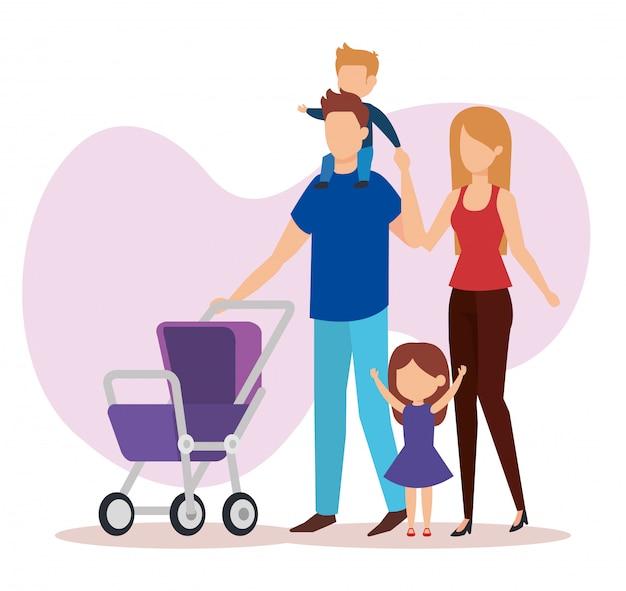 Parents en couple avec des personnages de bébé