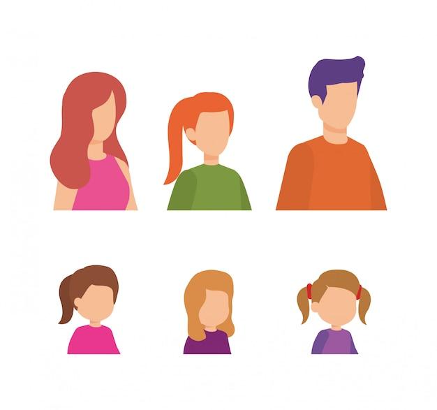 Parents couple avec personnages de filles