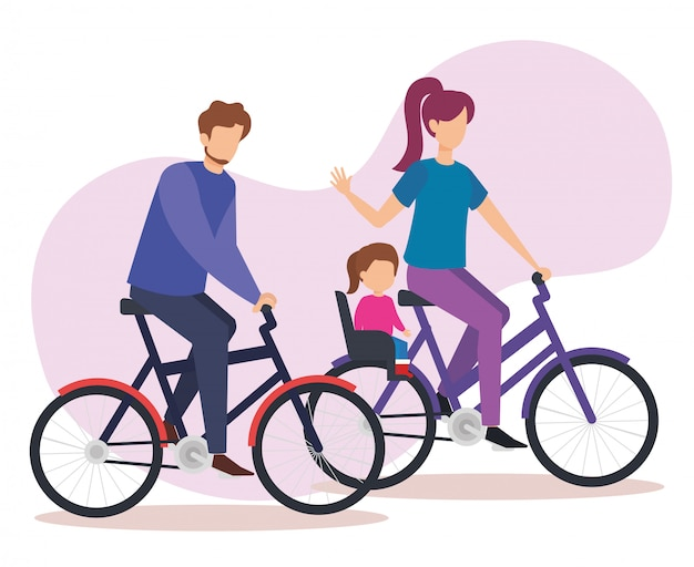 Parents couple à vélo avec fille