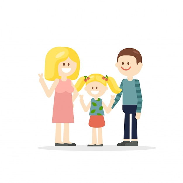 Parents de dessin animé avec illustration de petite fille