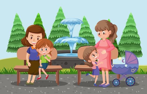 Les parents emmènent leurs enfants et leur poussette dans le style cartoon du parc