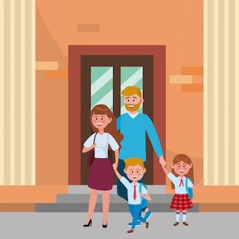 Parents avec enfants allant à l'école