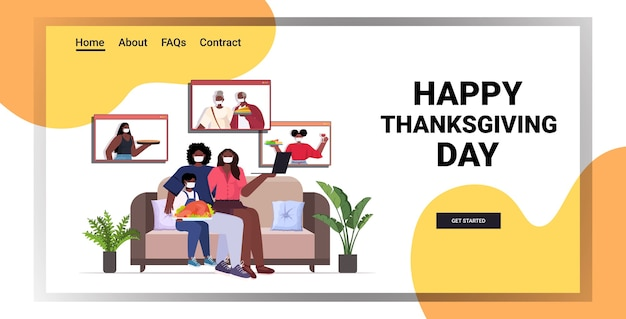 Parents et enfants discutant avec les grands-parents au cours de l'appel vidéo famille célébrant le concept de joyeux jour de thanksgiving