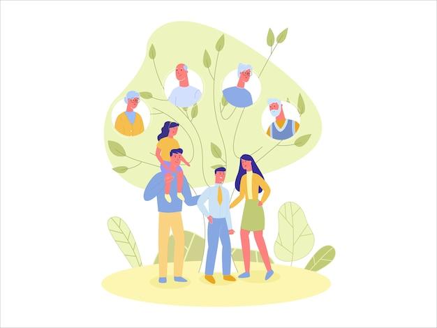 Parents et enfants sur fond d'arbre généalogique