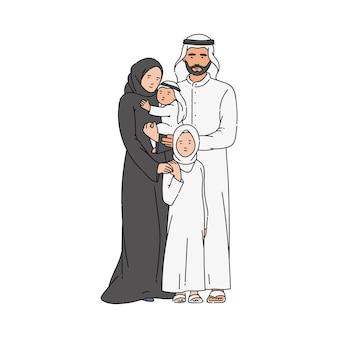 Parents et enfants isolés sur blanc