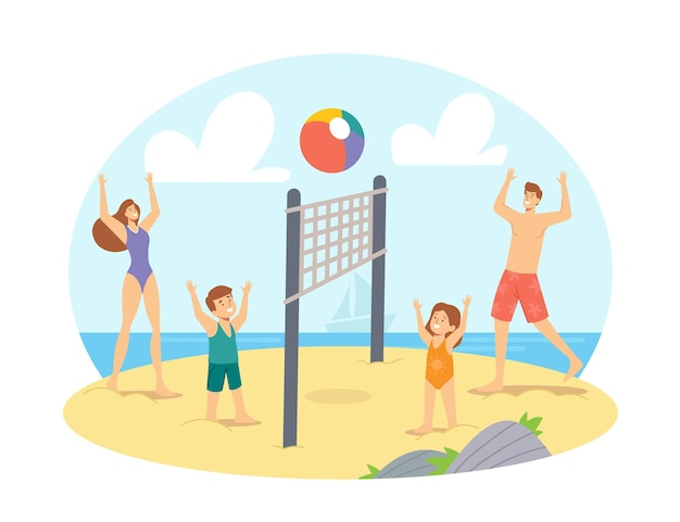 Parents et enfants jouant au beach-volley au bord de la mer. compétition de personnages de famille heureuse, jeu et loisirs à ocean shore, loisirs en famille, vacances. illustration vectorielle de gens de dessin animé
