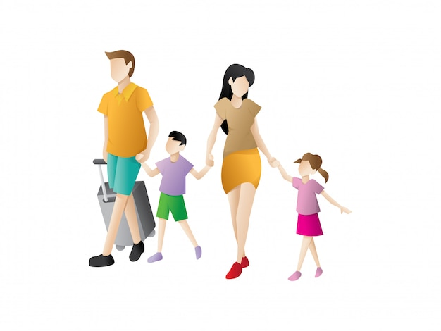 Les parents avec des enfants partent en vacances