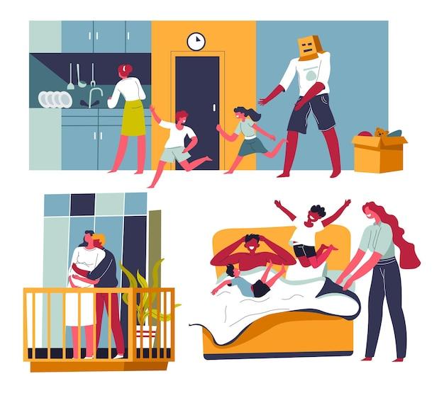 Parents et enfants passent du temps ensemble à la maison