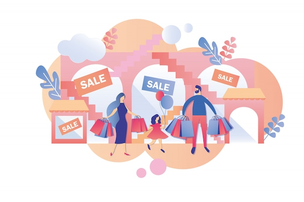 Les parents avec enfants visitent le centre commercial les week-ends et les soldes