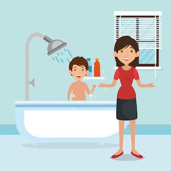 Parents de la famille dans la salle de bain avec scène de la baignoire