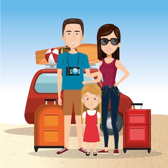 Parents avec une fille sur la plage