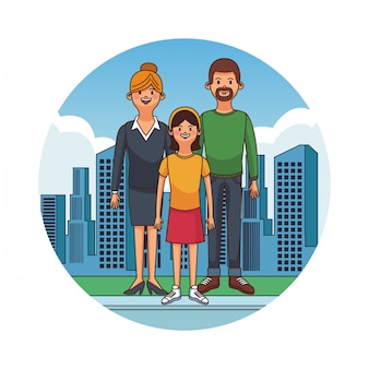 Parents avec fille à la ville des dessins animés vector illustration graphique design