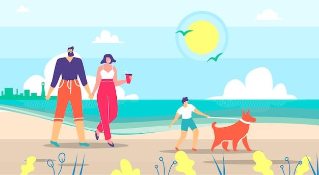 Parents et fils marchent avec un chien dans le dessin animé city river