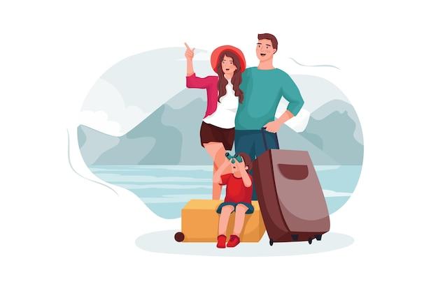 Les parents et le fils sont allés à la destination touristique.