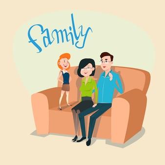 Parents heureux famille avec fille s'asseoir sur canapé