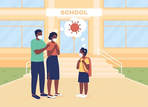Les parents inquiets voient leur fille en cours d'illustration vectorielle en couleur plate. retour à l'école. maman et papa s'inquiètent des personnages de dessins animés pandémiques en 2d avec un bâtiment scolaire en arrière-plan