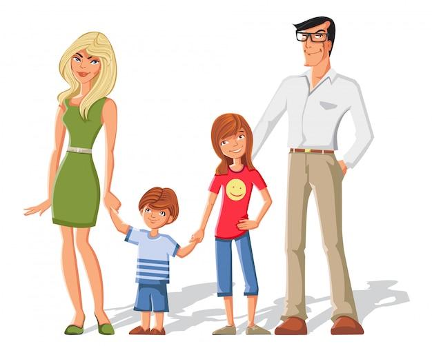 Parents avec jeu de caractères enfants