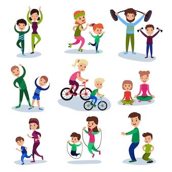 Les parents et leurs enfants s'entraînent et font des exercices sportifs ensemble ensemble, concept de famille sportive illustrations