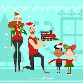 Parents offrant des cadeaux à leurs enfants