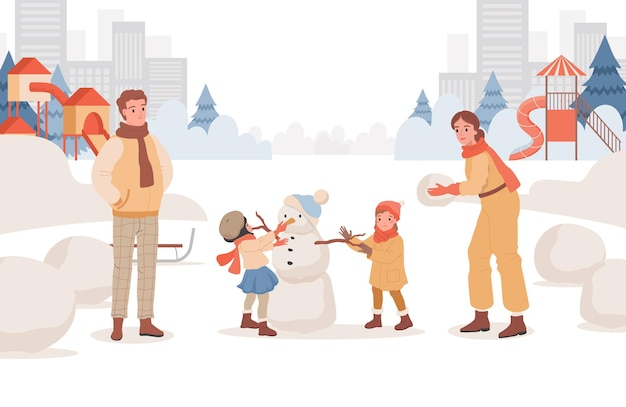 Les parents passent le week-end avec leurs enfants à l'extérieur au parc de la ville d'hiver
